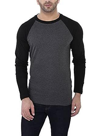 Katso Men's Raglan Neck Full Sleeve Cotton T-Shirt Dark Grey