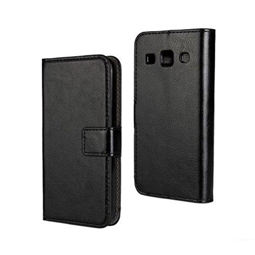 E-Max 4 en 1 Etui Housse Cuir Portefeuille Case Cover Pour Samsung Galaxy Core Plus (GT-G3500 SM-G350 G3502) , Stylus et Film protecteur inclus, Noir