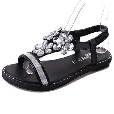 flacher Kleid pu sandalen Lässig Lvyuan Damen büro komfort Silber schwarz Absatz Black nRY6RXx