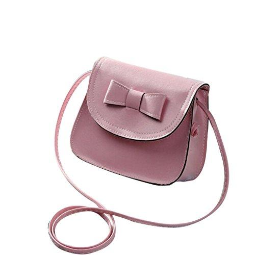 Vovotrade messenger bag di spalla delle donne di Bowknot Borsa in pelle (Nero) Rosa