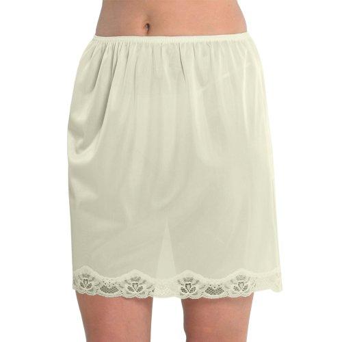 Marlow Damen Unterrock aus seidigem Polyester mit Spitze an der Unterseite, ca. 45 cm Länge, verschiedene Farben und Größen Beige