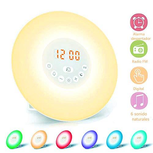Despertador luz LED Wake Up Light 7 Colores Luces,Radio FM,Función Snooze,6 Sonidos,10 Niveles de DIMM,Simulación de Amanecer y Atardecer/Lámpara para Dormitorio niños (Despertador LED, Blanco)