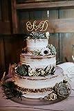 Lettere iniziali Cake Topper per Matrimonio Personalizzato Cake Topper Wedding Cake Topper Cake Topper in 6 Tipi di Legno Oro e Argento