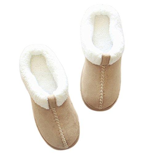 Fortuning's JDS Unisex adulti coppia accogliente cotone rimonta Velluto Casa calzature comode pantofole Flatform avvolgere Beige