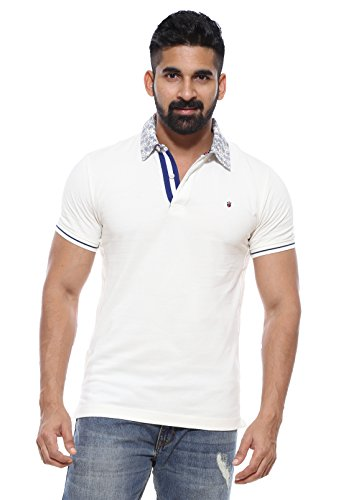 Louis Philippe Men's White Polo T-shirt (X-Large)  available at amazon for Rs.1099