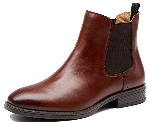 Kurzschaft Stiefeletten, Chelsea Boots, Flache Boots SchlupfstiefelBraun-T34 -