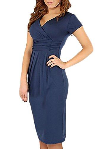 Damen Kleider Etuikleider Cocktailkleid Umstandsmode 2017 Die Neue Kurzarm V-Ausschnitt Paket Hüfte Herbst Stretch Uni-Farben Blau