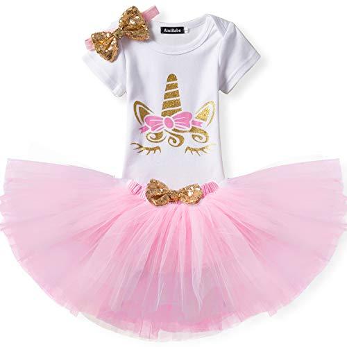 Kleinkind Mädchen Einhorn-Regenbogen Tutu Kleid 3Pcs Outfits Romper + Rock + Stirnband Größe (80) 9-18 Monate Rosa