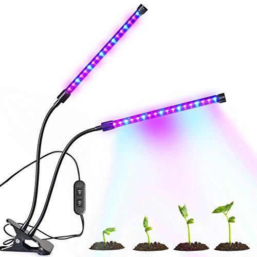 Molie Pflanzenlampe 18W Led Pflanzenlicht Pflanzenleuchte Wachstumslampe 360 Grad einstellbar Doppel Glühbirne E27 Growing Lamp Light