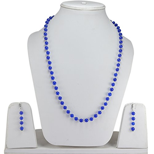 Silvestoo India Blue Quartz Gemstone Necklace & Earring Set For Women & Girls PG-131342