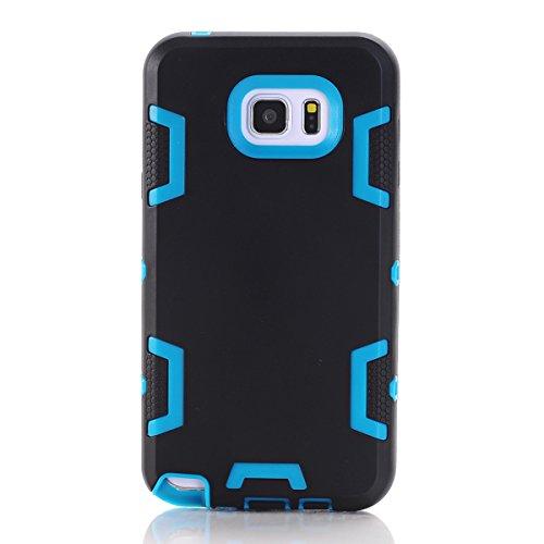 Samsung Galaxy Note 5 Hülle, Forhouse Ultra Slim [TPU + PC][Dual Layer][Roboter-Muster] Schutzhülle [Anti-Rutsch-] Shock-Absorption-Abdeckung für Samsung Galaxy Note 5 (Schwarz + Blau) (Galaxy Note 3 Fall Roboter)