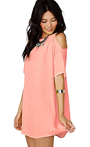 Damen Blusen Kleider Plus Size Chiffon Kurzarm Baggy T-Shirts Off Shoulder Lose Oversize Frauen Longshirt Bluse Tops Hemden Oberteile Rosa