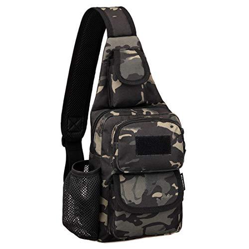 Selighting Taktisch Umhängetasche Militär Sling Rucksack Crossbody Bag mit Flaschenhalter für Trekking Camping Wandern Reisen (Camouflage schwarz) -