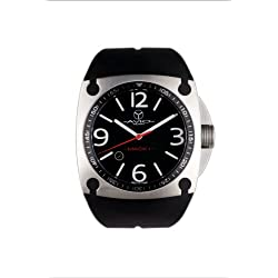 Avio Milano Men's Quartz Watch with Black Dial Analogue Display and Black Rubber Strap MK AC 1001