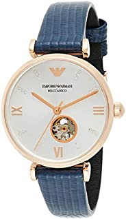 Emporio Armani Women's Silver Dial Leather Analog Watch - AR6