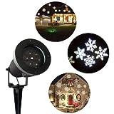 LED Projektor mit weißen Schneeflocken für innen und außen | LED Effektlicht als Weihnachtsdekoration