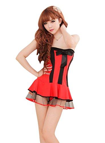 Glamorous Kostüm - Unbekannt MissFox Glamorous Damen Weihnachts Kostüm Christmas Santa Kleid Schlank Rot