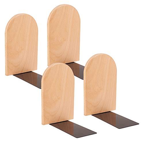 WANDIC Holzbuchstützen Set von 4 L-förmigen Holzbuchständer Holzhalter für Home, Büro, Schule und Bibliotheken -