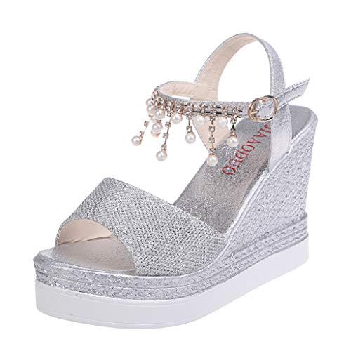 Damen Sommer Sandalen Mit Absatz Romika rutschfeste Bohemian Geflochtene Plateausandaletten Schuhe Elegant Glitzer Peep Toe Shoes Gold Peep Toe Schuhe