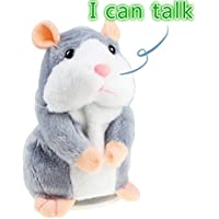 IDEAPRO Talking Hamster Toy, Repeats What You Say Plush Animal Toy, Electronic Hamster Mouse for Boy and Girl Gift