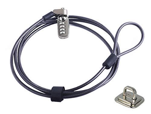 caleqi Laptop Kabel Schloss Hardware Sicherheit Kabel Lock Anti Diebstahl Lock und Ankerpunkt-2m Kabel Schwarz -