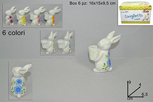 6 pz coniglio coniglietto in ceramica con vaso 9 x 4 x 6,5 cm decorazione pasquale