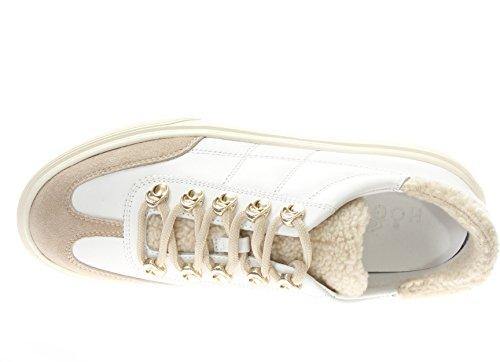 Hogan Donna Sneaker HXW3400J330HT908VN H340 Allacciato Ganci+Fod.Pelo Bianco