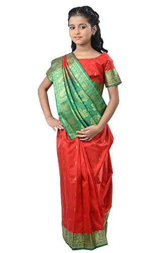 Pratima Girl's Ethnic Party Wear Blood Red with Green contrast Satin Ready...