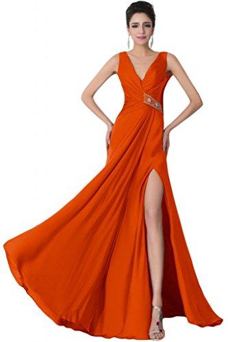 Sunvary scollo a V, con parte posteriore aperta Prom abiti di sicurezza con strass Orange