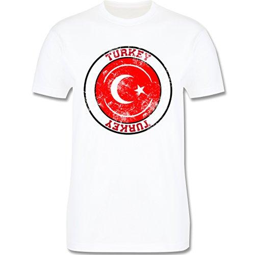 EM 2016 - Frankreich - Turkey Kreis & Fußball Vintage - Herren Premium T-Shirt Weiß