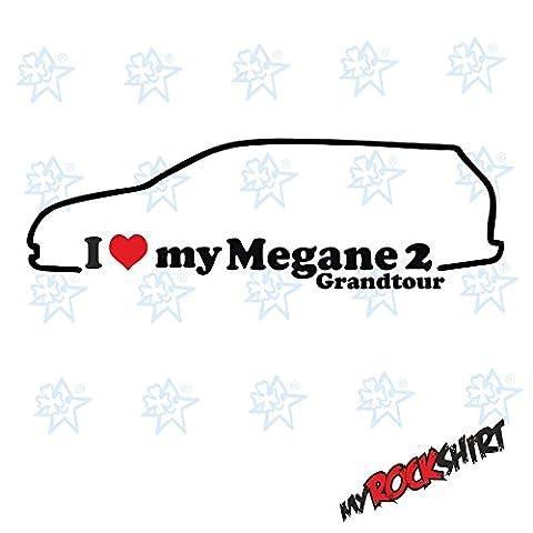 '2x I Love My Renault Megane 2Grand Tour from 03-0915x 5cm Silhouette Outline car Sticker–Car Sticker