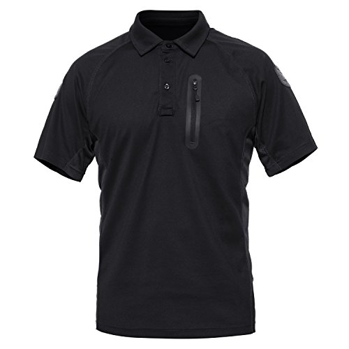 MAGCOMSEN Magcommen Herren Outdoor Taktisches Poloshirt Kurzarm Performance Pique Jersey Golf Poloshirt, Herren, Black-New, Small - Performance-polyester Pique Polo
