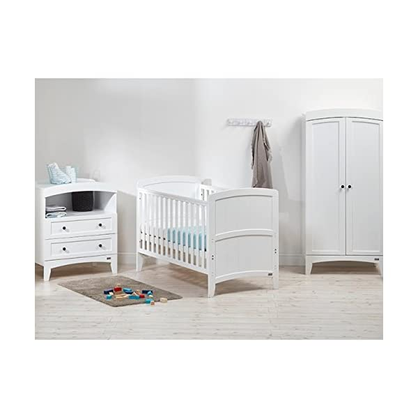 East Coast Acre Dresser - White East Coast Dresser with integrated top changing station for your baby Two full-width drawers for additional storage needs Open storage area, perfect for your changing essentials 2