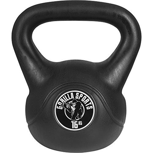 Gorilla Sports Kettlebell Cement Gorilla Sports Kunststoff Kugelhantel Schwunghantel Gewichte, 16 kg