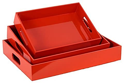 Wood Rectangular Serving Tray with Cutout Handles Set of Three Coated Finish Red Orange by Urban Trends