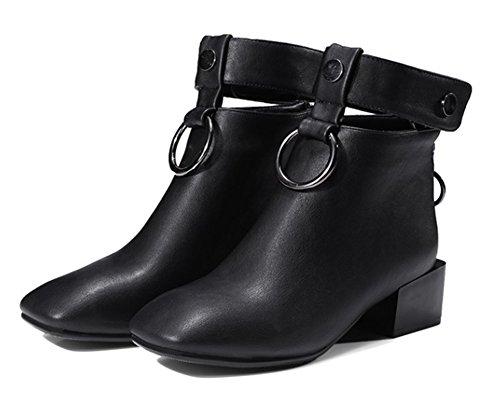 f7903a41a1d Aisun Boots Noir Moyen Métal Bloc Talon Low Bottines Mode Carré Femme Bout  OwqzxPOr