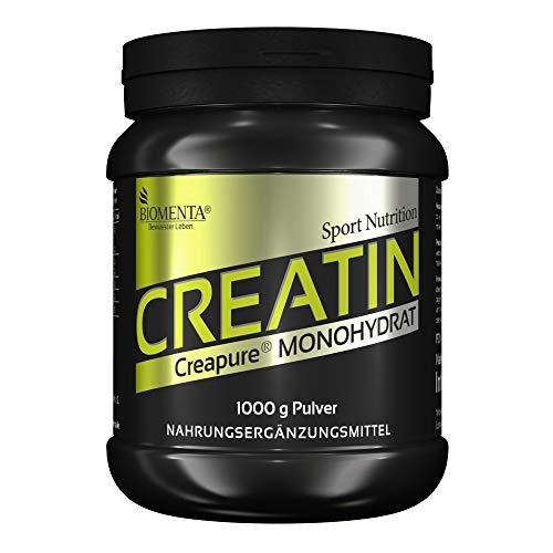 BIOMENTA CREATIN Monohydrat (Creapure) | 1000g Kreatin Pulver | Deutsche Qualität | VEGAN | Für den Kraftsport als Muskelaufbau Pulver
