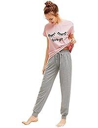 DIDK Damen Schlafanzug Set mit Slogan Kurzarm Shirt und Lang Schlafanzughose Sleepwear Pyjama Set