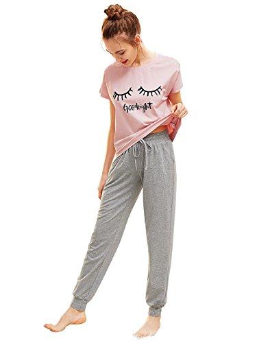 DIDK Damen Schlafanzug Set mit Slogan Kurzarm Shirt und Lang Schlafanzughose Sleepwear Pyjama Set, Rosa+grau, S