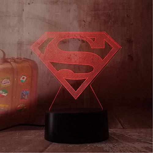 3D Led Dc Superman Logo Symbole Lumière Nuit Table De Bureau Lampe 7 Changement De Couleur Lampe De Poche Usb Rgb Controler Jouet Enfants Cadeau tzxdbh