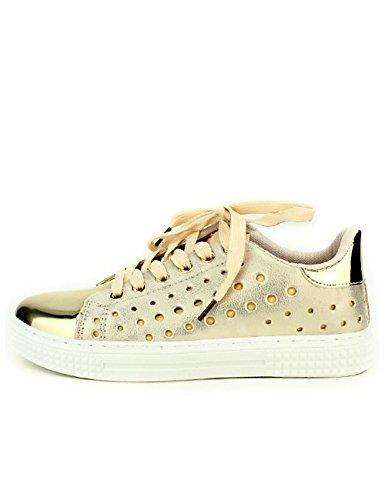 Cendriyon Baskets Dorées CH Creation Chaussures Femme