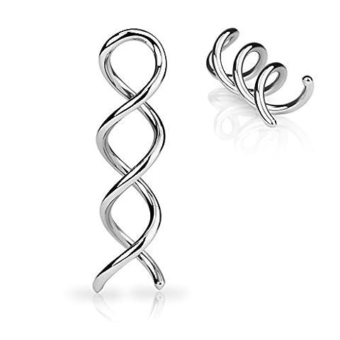 Piercing Ecarteur Twist Spirale en Acier Chirurgical 316L - Argenté