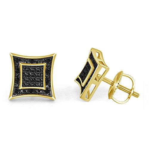 lilu Bijoux Design élégant en argent sterling 925à vis rond Kite Boucles d'oreilles clous avec carré coupe Diamant Véritable Noir 14k Gold Plated