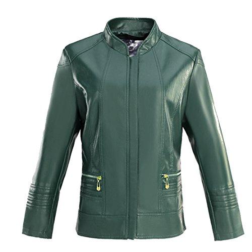 Damen Jacke Kunstlederjacke Bomberjacke Biker Leder Oberteile Mantel Coat Zieher Outwear Bikerjacke (DE 44-46, Grün01)