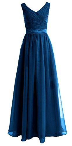 MACloth Women Straps V Neck Chiffon Long Bridesmaid Dress Wedding Party Gown Teal