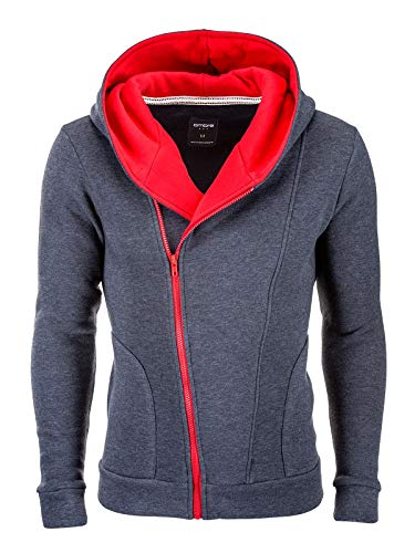 ZaniniMode Herren Sweat Kapuzenjacke mit asymmetrischen Reißverschluss, Hoodie, Sweatjacke, Pullover, Kapuzenjacken (DunkelGrau/Rot, L) -