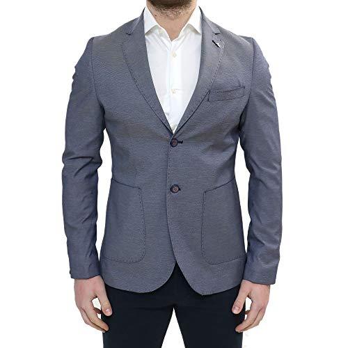 Giacca Uomo Elegante Primaverile Sartoriale Slim Fit Blu Classica con Spilla All'occhiello da Abito Made in Italy da Cerimonia in Cotone Blazer Casual Sportiva