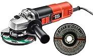 Black & Decker 115mm 820W Small Angle Grinder KG8215-B5 with 3 Metal Grinding Disk A17901N-AE, Orange/Blac