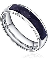 Stainless Steel 5mm Purple Crystal W. Sparkling Sand Womens Wedding Band Ring