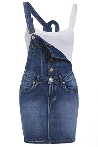 SS7 NEU Damen Skinny Denim-Latzhose Kleid, Mitte blau, sizes 8 to 14 - Mitte Blau, 40 - Latzhose Kleid - Beutel Taschen & 4 Taschen - Klassische Latzhosen Riemen - markiert Silber Knopf & Reißverschluss - 75%Baumwolle, 23%Polyester, 2%Elastha...